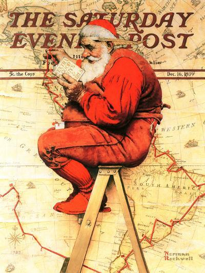 """""""Santa at the Map"""" Saturday Evening Post Cover, December 16,1939-Norman Rockwell-Giclee Print"""