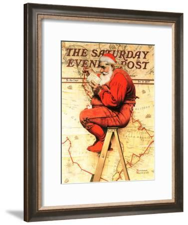 """""""Santa at the Map"""" Saturday Evening Post Cover, December 16,1939-Norman Rockwell-Framed Giclee Print"""