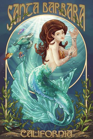 Santa Barbara, California - Mermaid-Lantern Press-Wall Mural