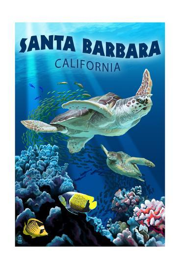 Santa Barbara, California - Sea Turtle Swimming-Lantern Press-Art Print