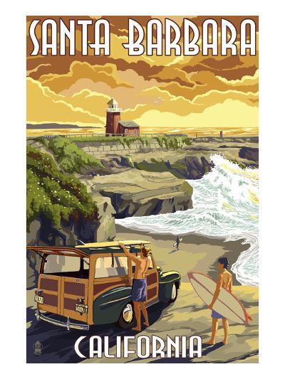 Santa Barbara, California - Woody and Lighthouse-Lantern Press-Art Print