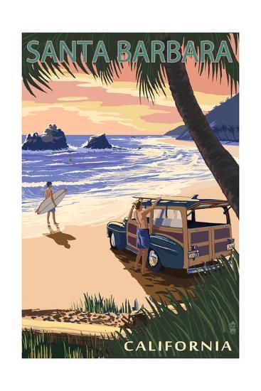 Santa Barbara, California - Woody on Beach-Lantern Press-Art Print