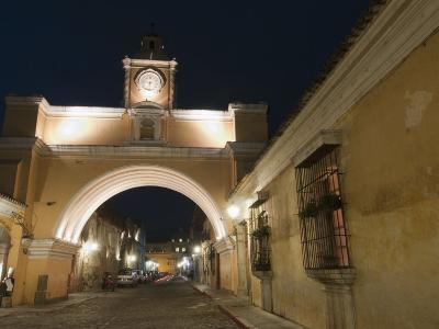 Santa Catalina Arch by Night, Antigua, UNESCO World Heritage Site, Guatemala, Central America-Sergio Pitamitz-Photographic Print