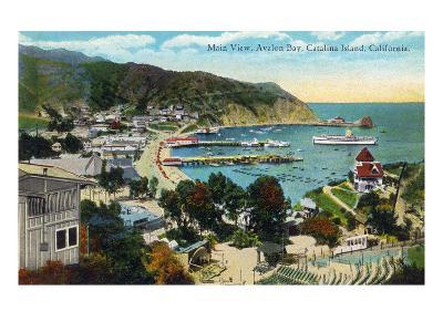 Santa Catalina Island, California - Panoramic View of Avalon and Bay-Lantern Press-Art Print