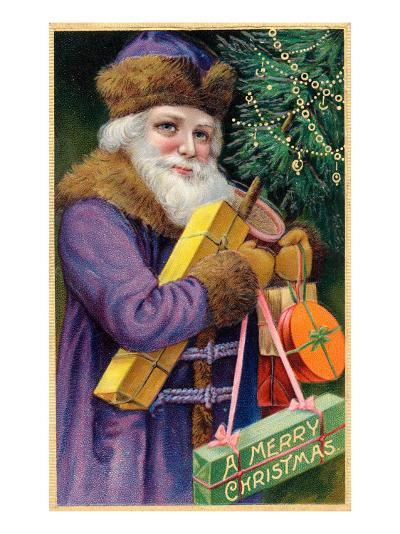 Santa Claus in Purple--Art Print