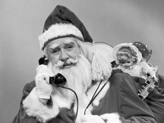 Santa Claus on the Telephone With His Sack of Toys on His Back-H^ Armstrong Roberts-Photographic Print