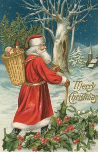 Santa Claus Walking with Pannier