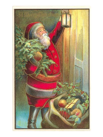 Santa Claus with Lantern--Art Print