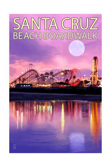 Santa Cruz, California - Beach Boardwalk and Moon at Twilight-Lantern Press-Art Print