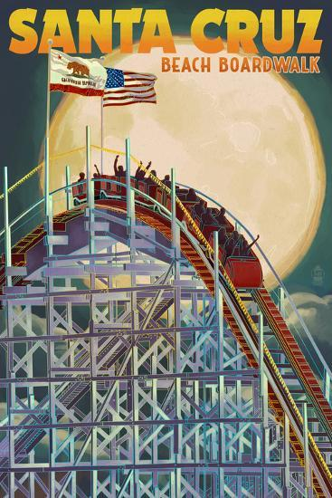 Santa Cruz, California - Big Dipper Coaster and Moon-Lantern Press-Art Print