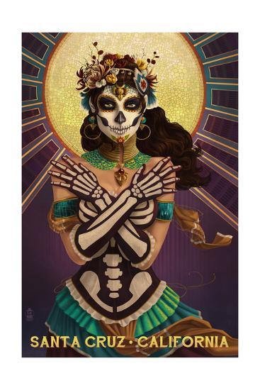 Santa Cruz, California - Day of the Dead Crossbones-Lantern Press-Art Print