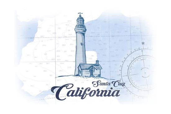 Santa Cruz, California - Lighthouse - Blue - Coastal Icon-Lantern Press-Art Print