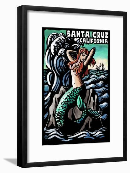 Santa Cruz, California - Mermaid - Scratchboard-Lantern Press-Framed Art Print