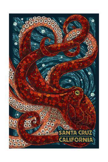 Santa Cruz, California - Octopus Mosaic-Lantern Press-Art Print
