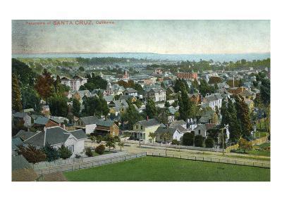 Santa Cruz, California - Panoramic View of Town-Lantern Press-Art Print