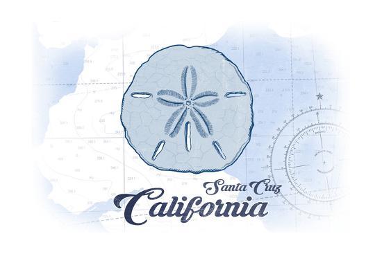 Santa Cruz, California - Sand Dollar - Blue - Coastal Icon-Lantern Press-Art Print