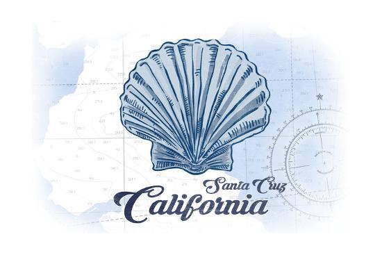 Santa Cruz, California - Scallop Shell - Blue - Coastal Icon-Lantern Press-Art Print