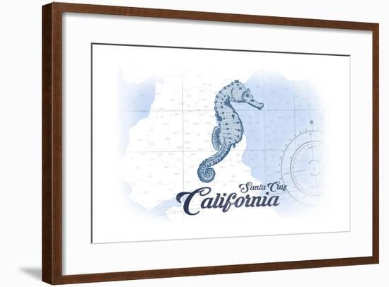 Santa Cruz, California - Seahorse - Blue - Coastal Icon-Lantern Press-Framed Art Print