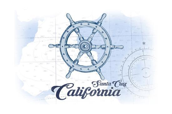 Santa Cruz, California - Ship Wheel - Blue - Coastal Icon-Lantern Press-Art Print