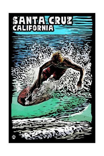 Santa Cruz, California - Skimboarder - Scratchboard-Lantern Press-Art Print