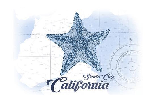 Santa Cruz, California - Starfish - Blue - Coastal Icon-Lantern Press-Art Print