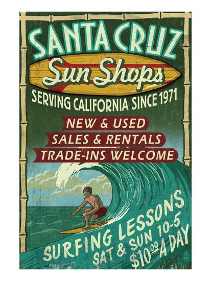 Santa Cruz, California - Sun Shops Surf Shop-Lantern Press-Art Print