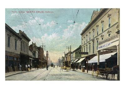 Santa Cruz, California - View Down Pacific Avenue-Lantern Press-Art Print