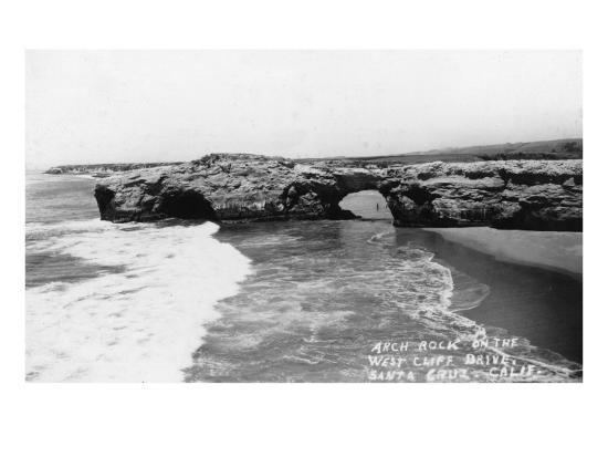 Santa Cruz, California - View of Arch Rock along West Cliff Drive-Lantern Press-Art Print