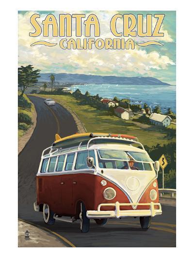 Santa Cruz, California - VW Van-Lantern Press-Art Print