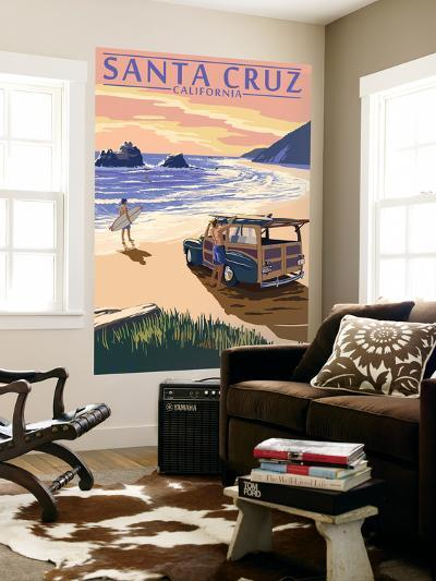 Santa Cruz, California - Woody on Beach-Lantern Press-Wall Mural