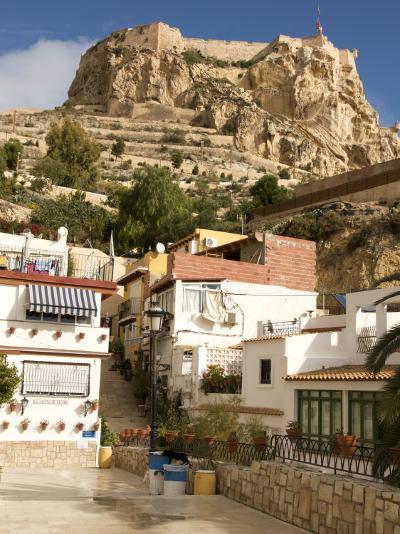 Santa Cruz Quarter and Santa Barbara Castle in Background, Alicante, Valencia Province, Spain-Guy Thouvenin-Photographic Print