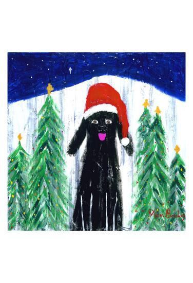 Santa Dog-Ken Bailey-Collectable Print