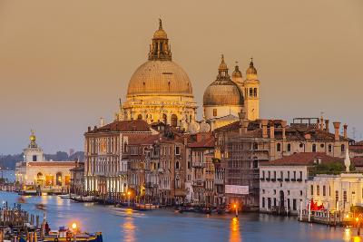 Santa Maria Della Salute Church and Grand Canal at Sunset, Venice, Veneto, Italy-Stefano Politi Markovina-Photographic Print