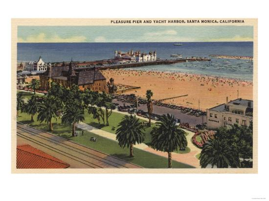 Santa Monica, California - Aerial of Pleasure Pier & Yacht Harbor-Lantern Press-Art Print