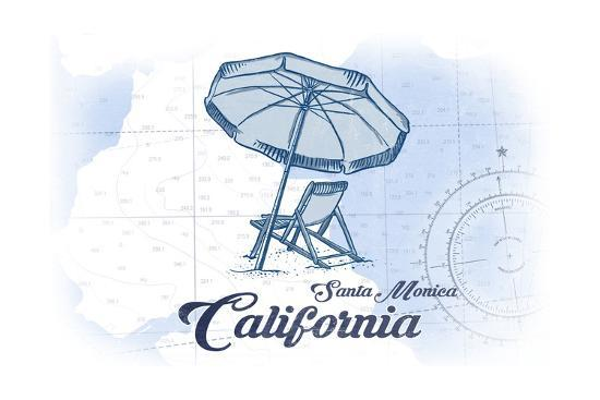 Santa Monica, California - Beach Chair and Umbrella - Blue - Coastal Icon-Lantern Press-Art Print