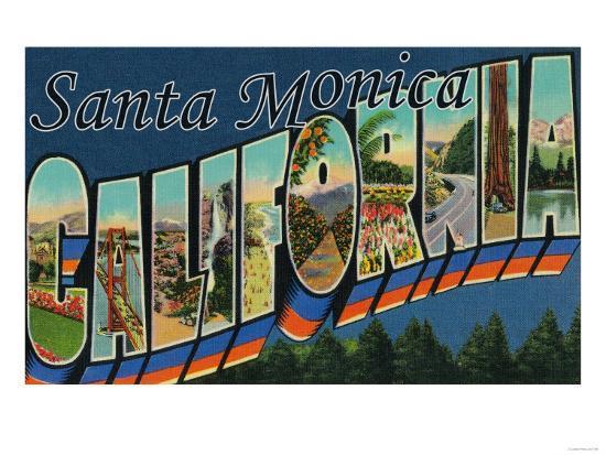 Santa Monica, California - Large Letter Scenes-Lantern Press-Art Print
