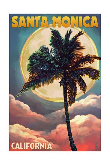 Santa Monica, California - Palm and Moon-Lantern Press-Art Print