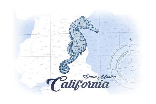 Santa Monica, California - Seahorse - Blue - Coastal Icon-Lantern Press-Art Print