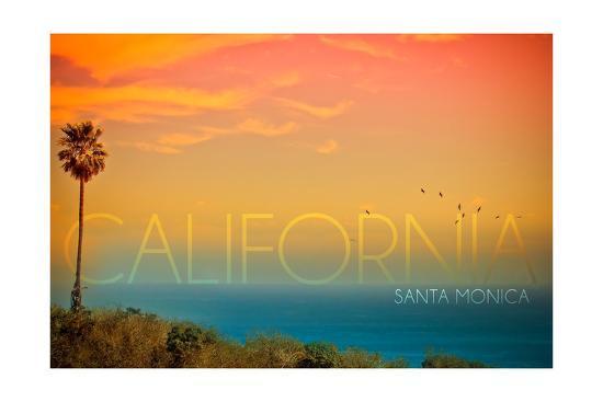 Santa Monica, California - Sunset and Bird-Lantern Press-Art Print