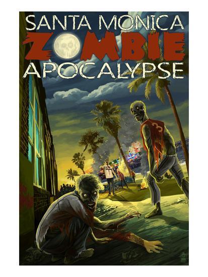 Santa Monica, California - Zombie Apocalypse-Lantern Press-Art Print