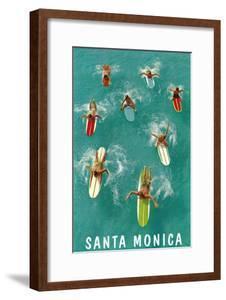 Santa Monica, Surfers Paddling
