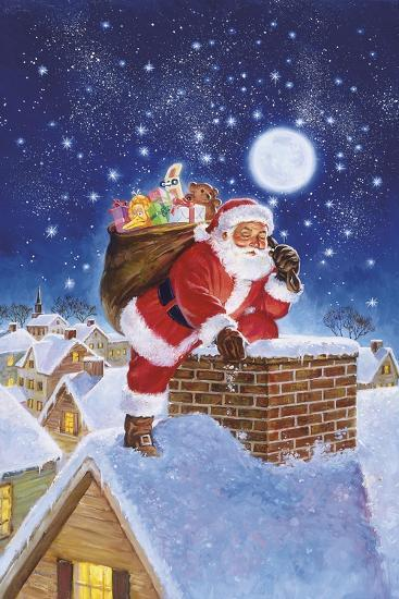 Santa on Rooftop-Hal Frenck-Giclee Print
