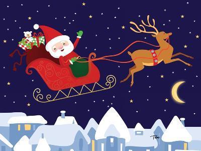Santa & Reindeer-Teresa Woo-Art Print