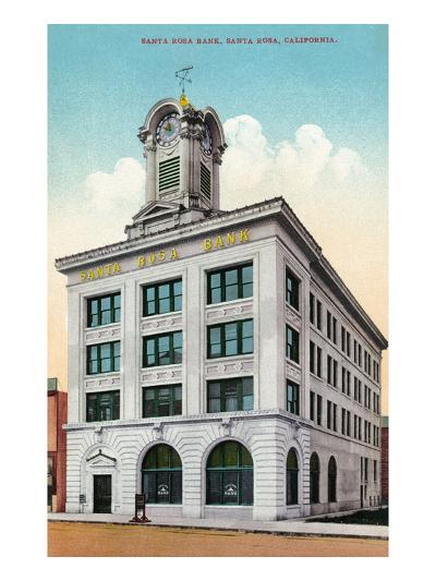 Santa Rosa, California - Exterior View of the Santa Rosa Bank-Lantern Press-Art Print
