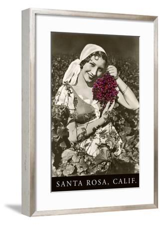 Santa Rosa, California, Woman with Grapes--Framed Art Print