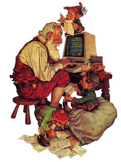 """""""Santa's Computer,"""" December 1, 1982-Scott Gustafson-Giclee Print"""