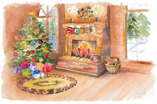 Santa's Fireplace and Tree Scene-Lanie Loreth-Art Print