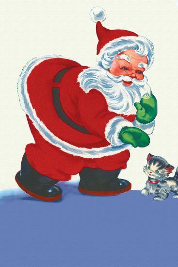 Santa's Green Gloves--Art Print