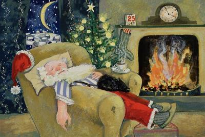 Santa Sleeping by the Fire, 1995-David Cooke-Giclee Print
