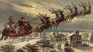 Santa, Sleigh, Reindeer